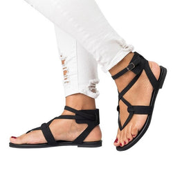 Ankle Strap Thong Block Heel Buckle Cross Strap Mid-Cut Upper Sandals