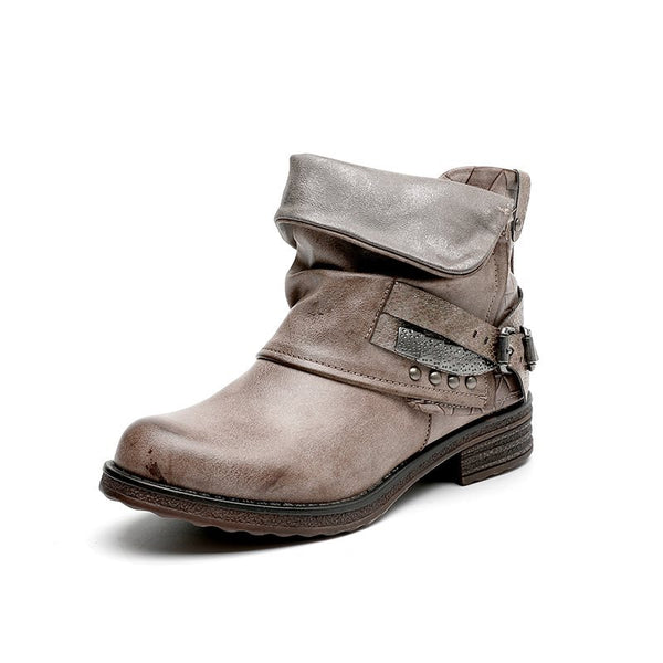 Round Toe Side Zipper Plain Block Heel Casual Worn Boots