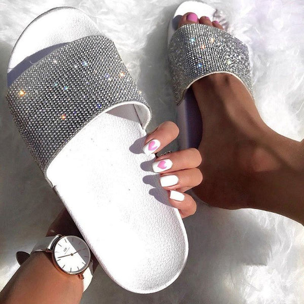 Flip Flop Slip-On Rhinestone Flat With Casual PU Slippers