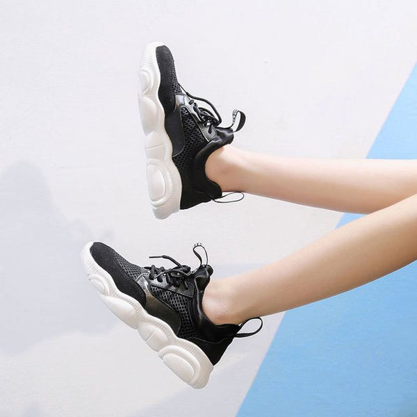 Platform Round Toe Lace-Up Patchwork Casual Sneakers