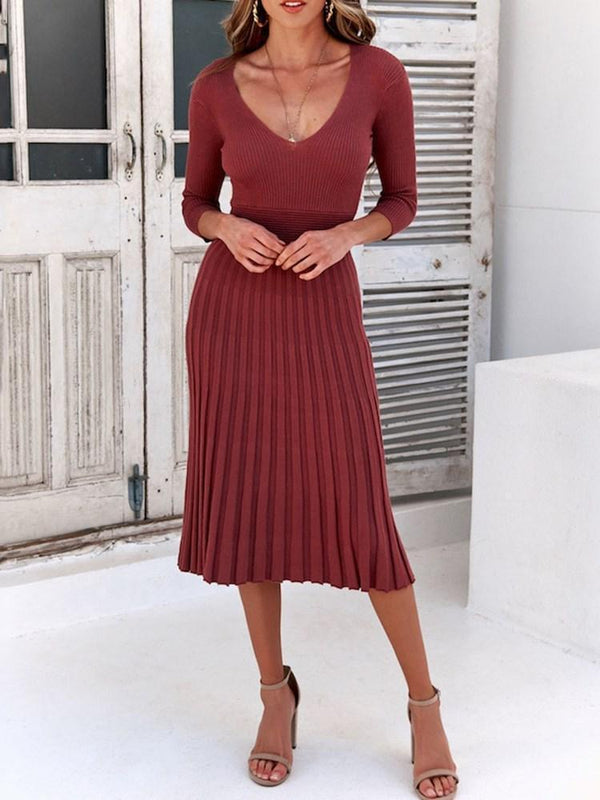 Three-Quarter Sleeve V-Neck Mid-Calf Regular Western Dress