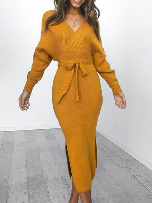 Mid-Calf Split Long Sleeve Bodycon Batwing Sleeve Dress