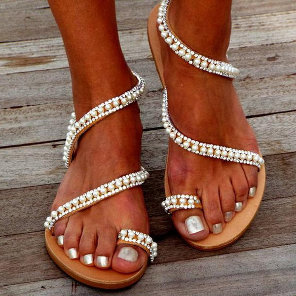 Slip-On Toe Ring Flat With Western Beach Sandals