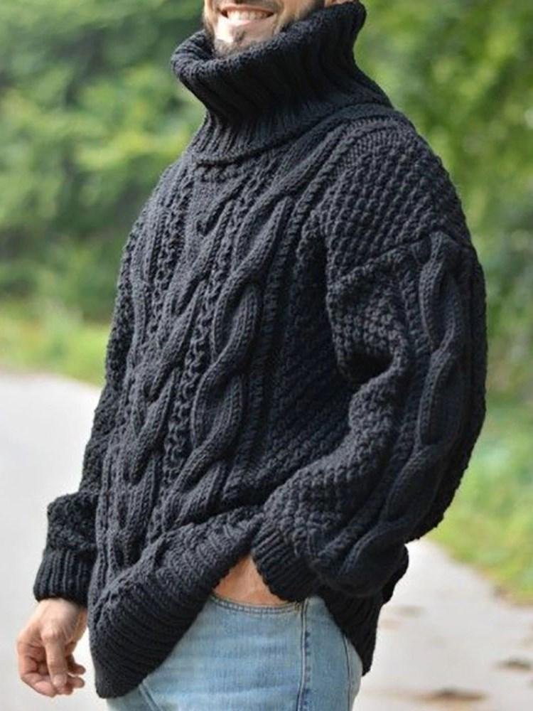 Plain Standard Turtleneck Casual Loose Sweater