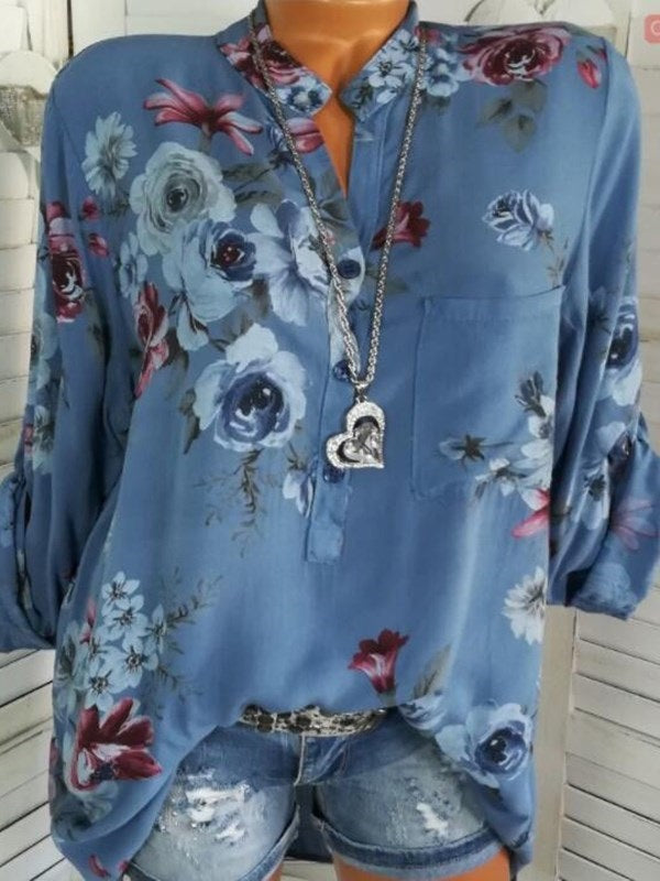 V-Neck Floral Button Standard Long Sleeve Blouse