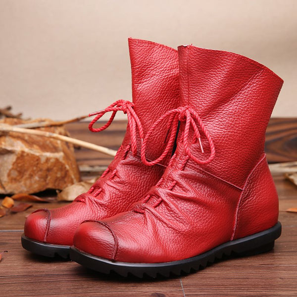 Round Toe Side Zipper Plain Casual Lace-Up Boots