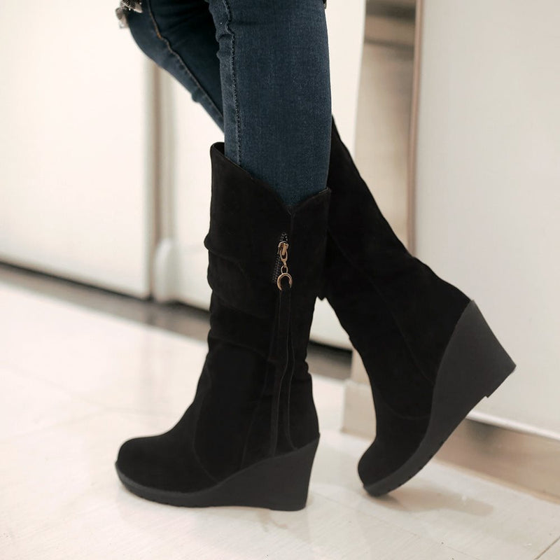 Wedge Heel Round Toe Side Zipper Plain PU Banquet Boots