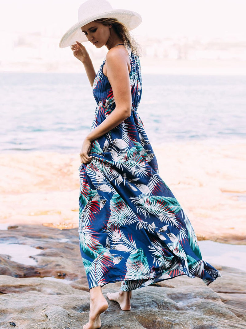 Ankle-Length Sleeveless Patchwork Floral Summer Dress