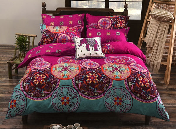 Polyester Reactive Printing Duvet Cover Set Bedding Set Hand Wash