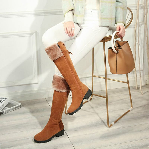 Side Zipper Plain Block Heel Round Toe Casual Thread Boots
