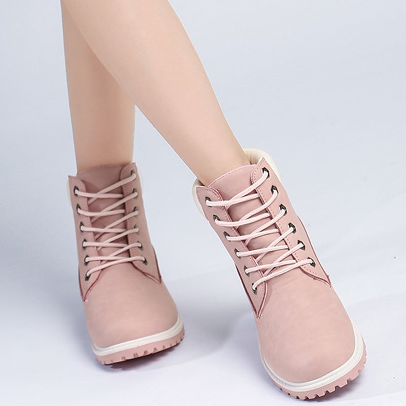 Lace-Up Front Round Toe Block Heel Casual Short Floss Boots