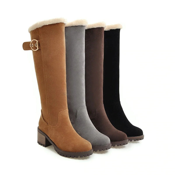 Plain Side Zipper Round Toe Block Heel Western Casual Boots