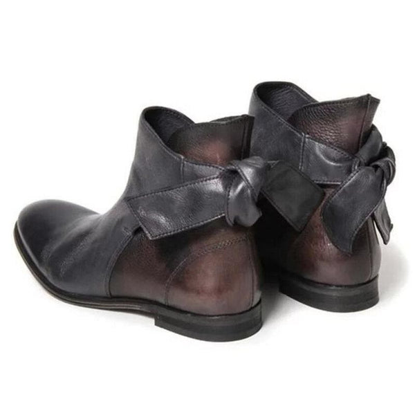 Lace-Up Back Round Toe Casual Boots