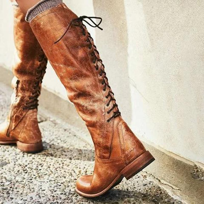 Side Zipper Block Heel Round Toe Plain Lace-Up Cotton Boots