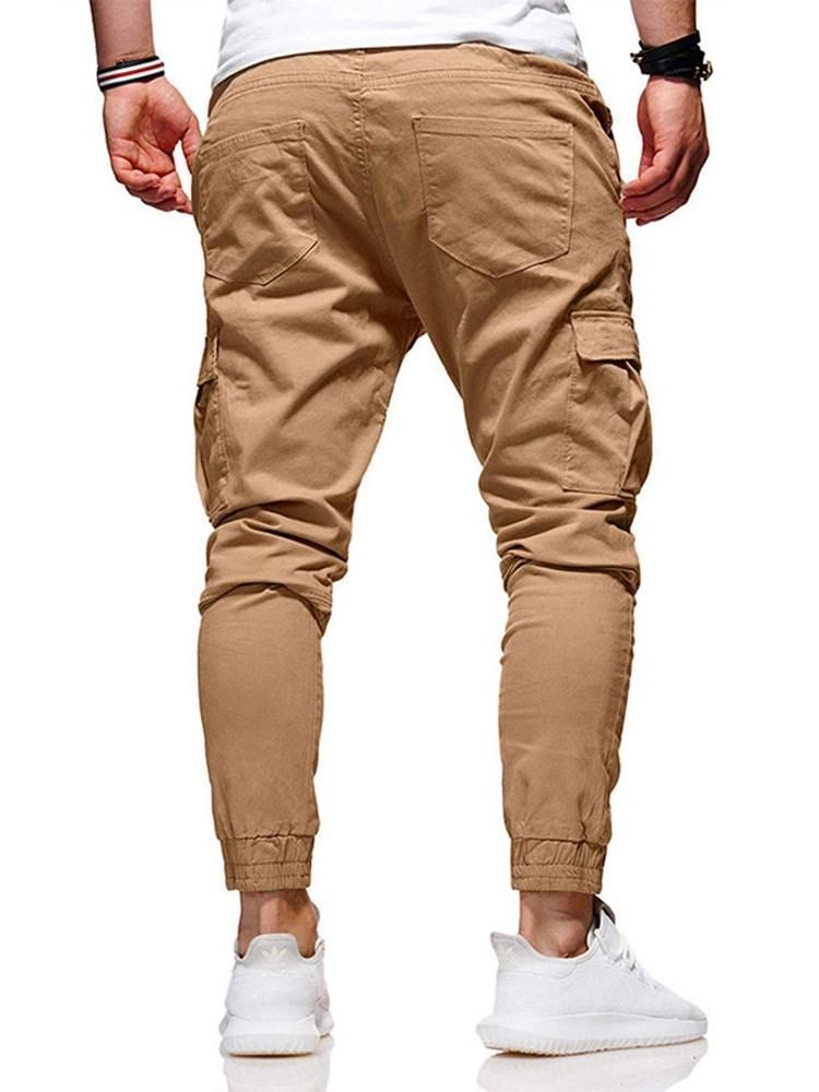 Plain Mid Waist Fall Casual Pants