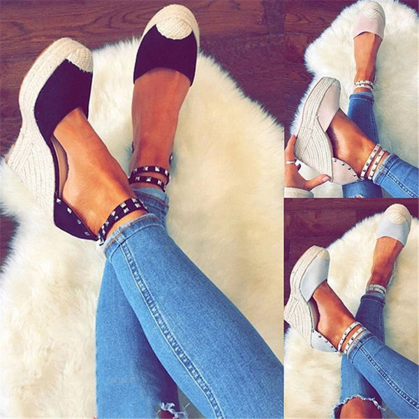 Buckle Closed Toe Rivet Mid-Cut Upper Sandals