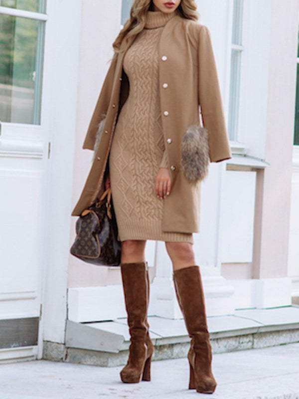 Turtleneck Long Sleeve Knee-Length Raglan Sleeve Bodycon Dress