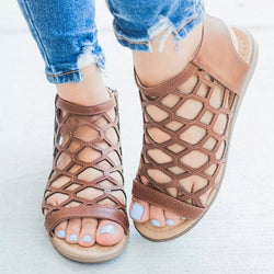 Open Toe Strappy Zipper Flat With Low-Cut Upper Hollow Sandals