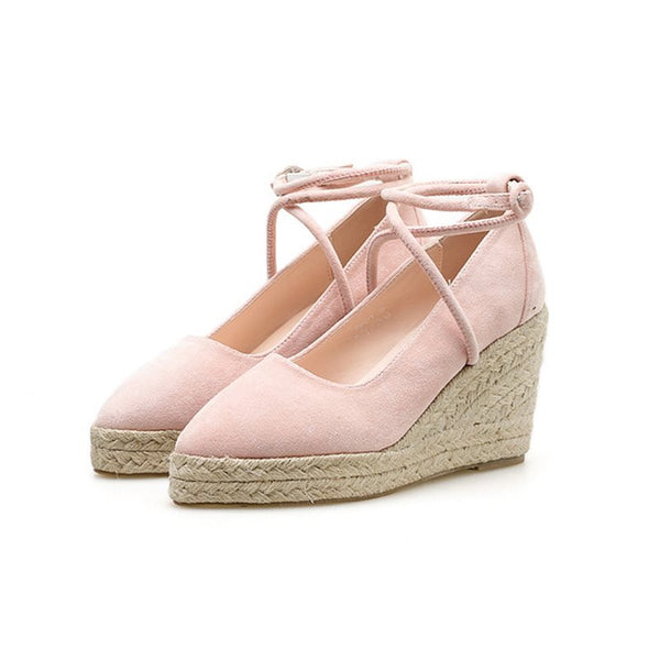 Pointed Toe Buckle Platform Wedge Heel Low-Cut Upper 8.5cm Thin Shoes