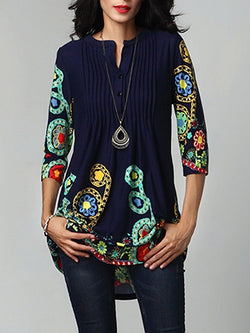 Mid-Length Three-Quarter Sleeve Floral Fall Casual T-Shirt