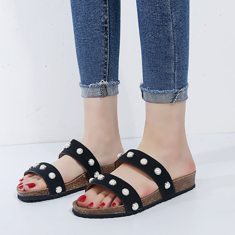 Slip-On Flat With Flip Flop Beads Rubber Summer Slippers