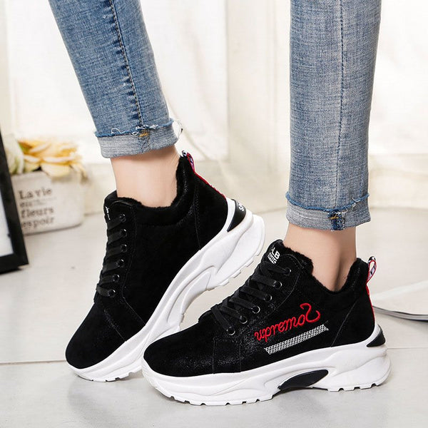 Lace-Up Round Toe Mid-Cut Upper Platform Casual Letter Sneakers