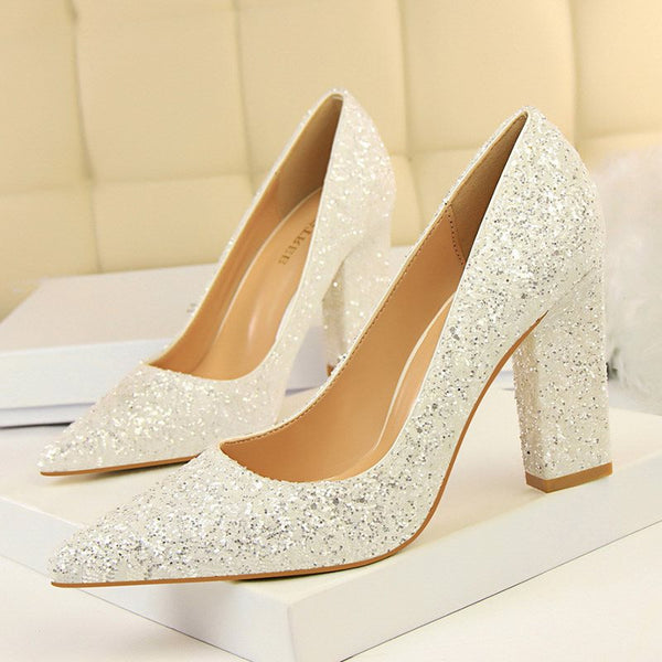 Pointed Toe Chunky Heel Slip-On Sequin Low-Cut Upper Banquet Thin Shoes
