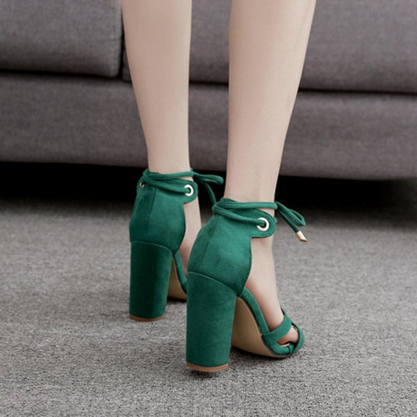 Chunky Heel Lace-Up Heel Covering Open Toe Casual Low-Cut Upper Sandals