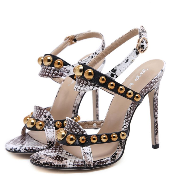 Open Toe Stiletto Heel Buckle Strappy Rivet Low-Cut Upper Sandals
