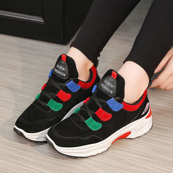 Thread Lace-Up Low-Cut Upper Round Toe Hidden Elevator Heel Leather Sneakers