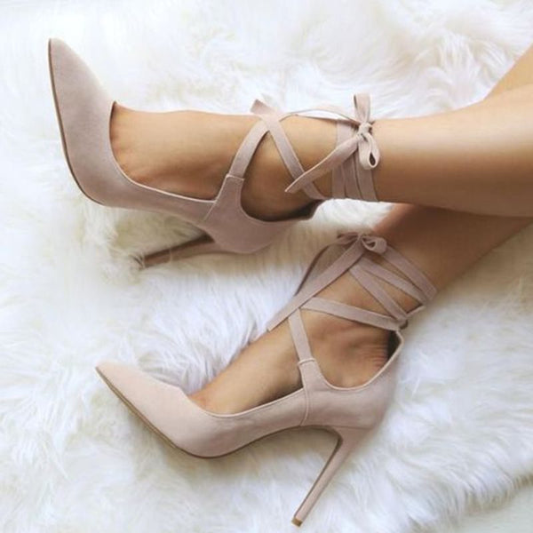 Pointed Toe Stiletto Heel Lace-Up 11.5cm Plain Thin Shoes
