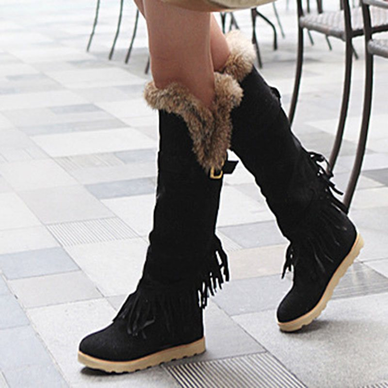 Slip-On Round Toe Plain Buckle Casual Boots