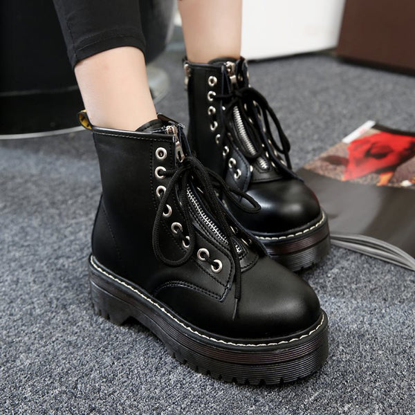 Front Zipper Block Heel Plain Round Toe Cross Strap Casual Boots