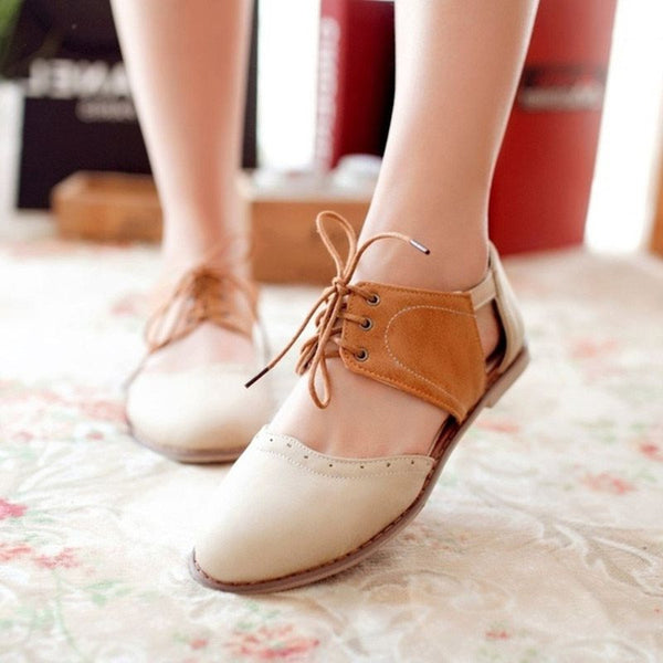 Round Toe Lace-Up Block Heel Hollow Low-Cut Upper Flat Heel Thin Shoes