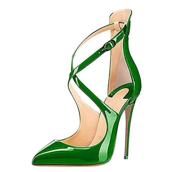Pointed Toe Buckle Stiletto Heel High-Cut Upper Plain Thin Shoes