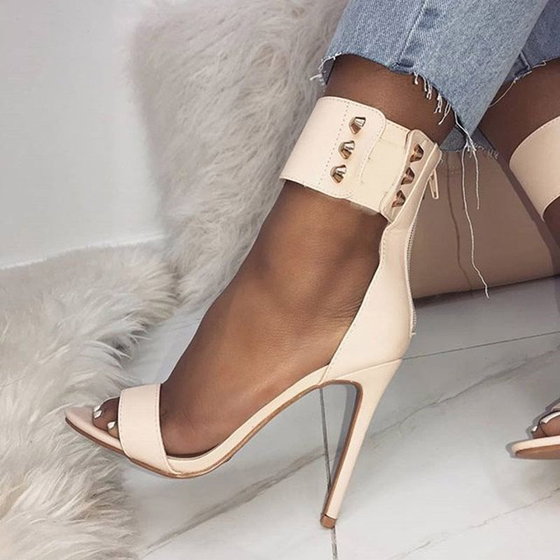 Heel Covering Open Toe Zipper Stiletto Heel Casual Rivet Sandals