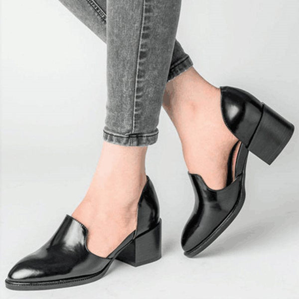Slip-On Pointed Toe Chunky Heel Mid-Heel Low-Cut Upper Thin Shoes