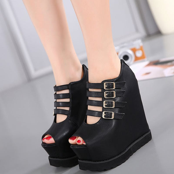 Peep Toe Wedge Heel Zipper Platform Low-Cut Upper Casual Thin Shoes