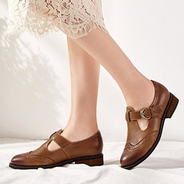 Block Heel Brush Off Buckle Round Toe Casual Low-Cut Upper Thin Shoes