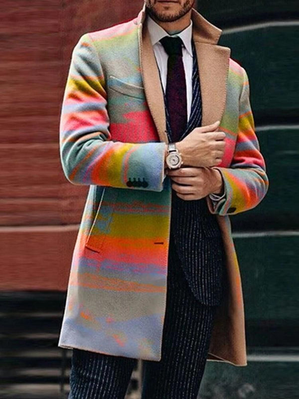Color Block Mid-Length Button Winter Casual Coat