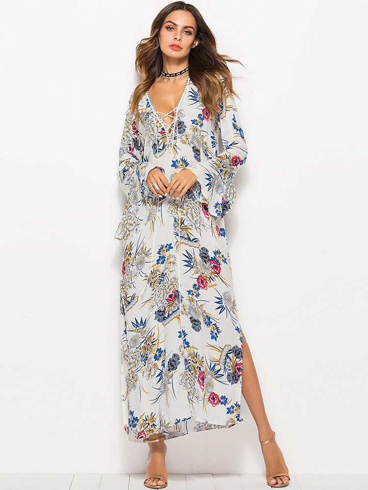 Print Long Sleeve Ankle-Length Travel Look Floral Dress