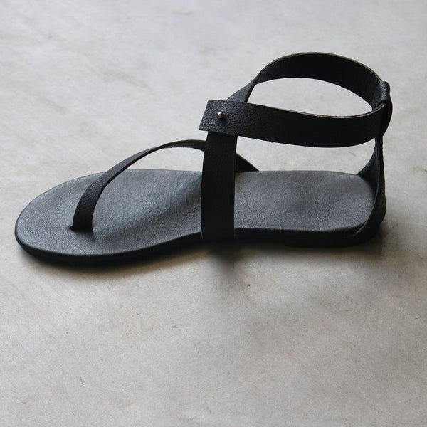 Block Heel Buckle Thong Ankle Strap Plain Casual Sandals