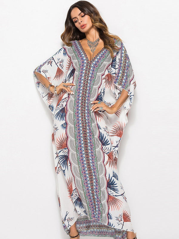 V-Neck Ankle-Length Half Sleeve Bohemian Batwing Sleeve Dress