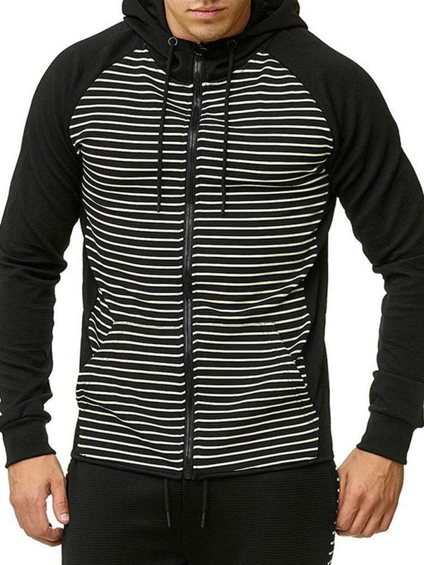 Fleece Zipper Stripe Fall Hooded Hoodies
