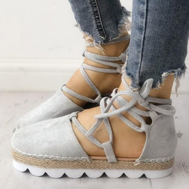 Lace-Up Flat With Heel Covering Round Toe Plain Casual Sandals