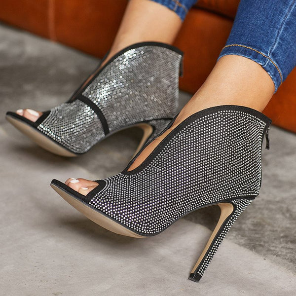 Slip-On Rhinestone Peep Toe Stiletto Heel Ultra-High Heel Plain Thin Shoes