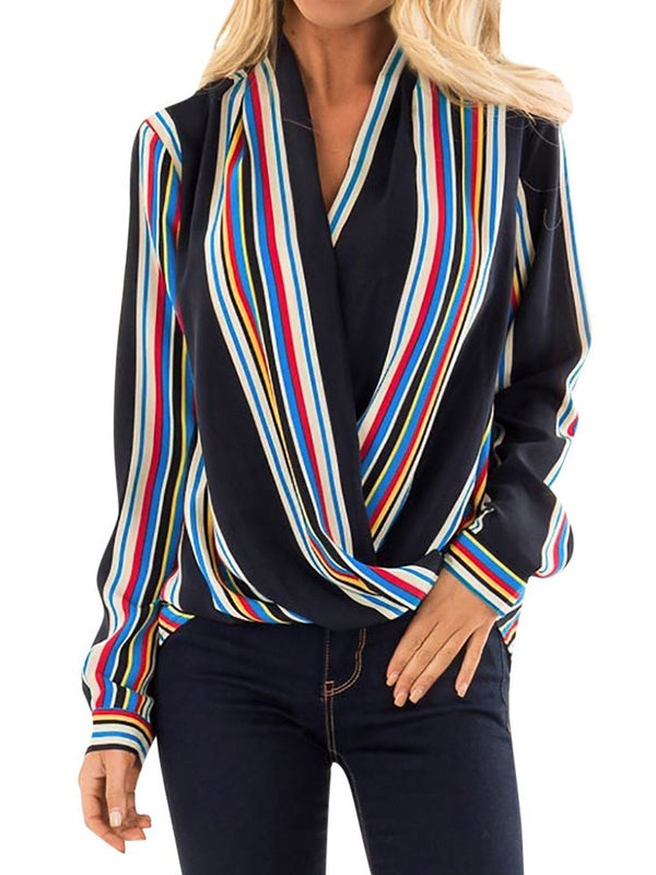 Stripe V-Neck Regular Long Sleeve Standard Blouse