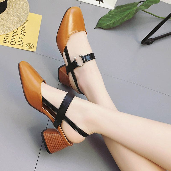 Chunky Heel Square Toe Strappy Slip-On Casual Low-Cut Upper Sandals