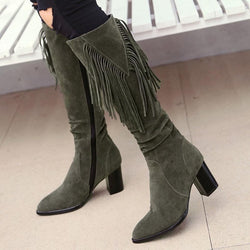 Chunky Heel Side Zipper Plain Round Toe Plush Fringe Boots