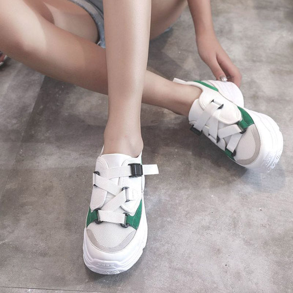 Round Toe Buckle Color Block Mesh Sneakers